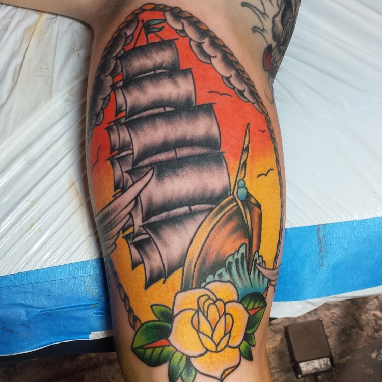 Clipper ship and rose, nautical naval themed half sleeve tattoo in progress.