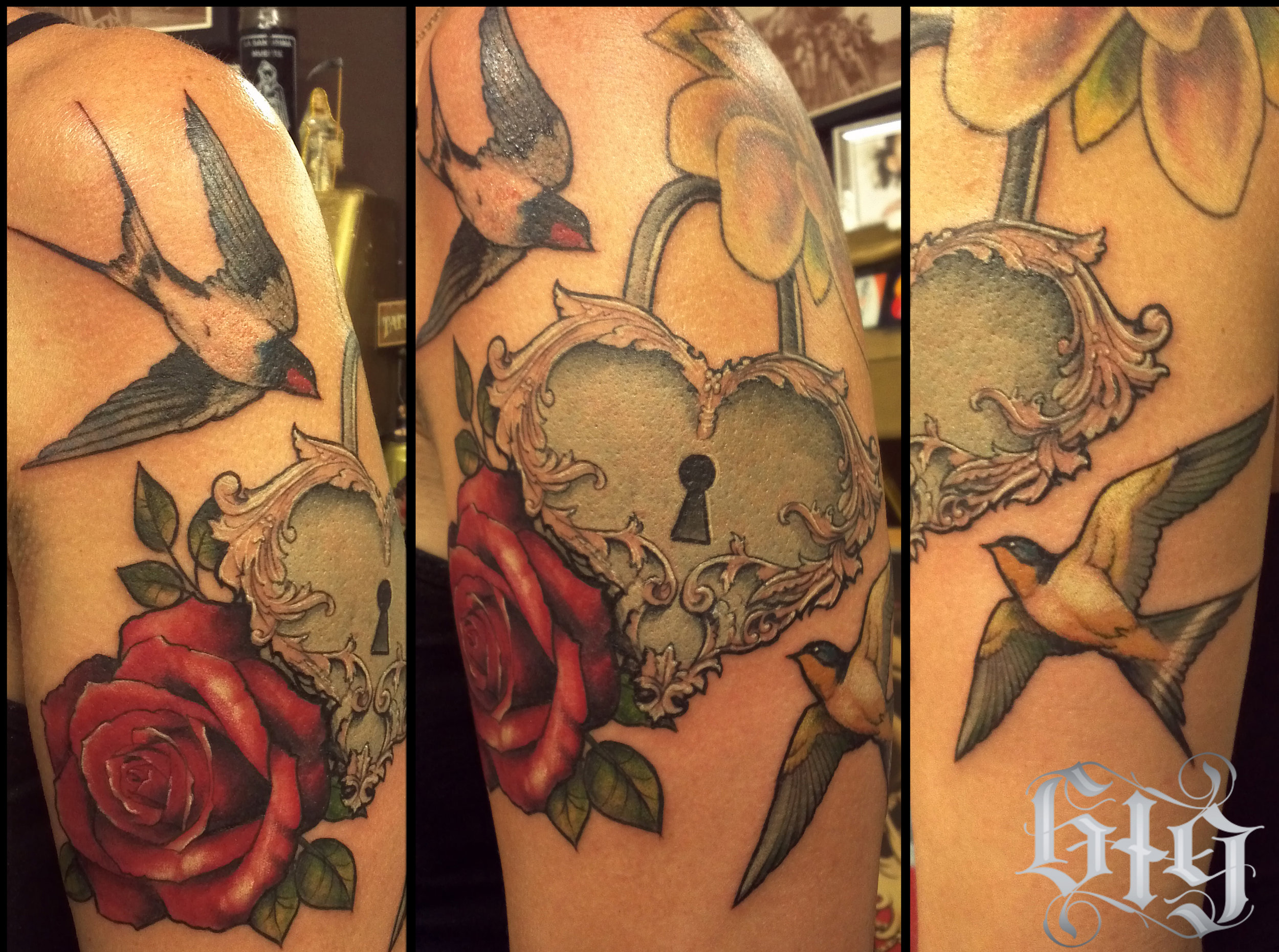 Heart Locket with rose and swallows in color. Upper arm half sleeve tattoo continuation.