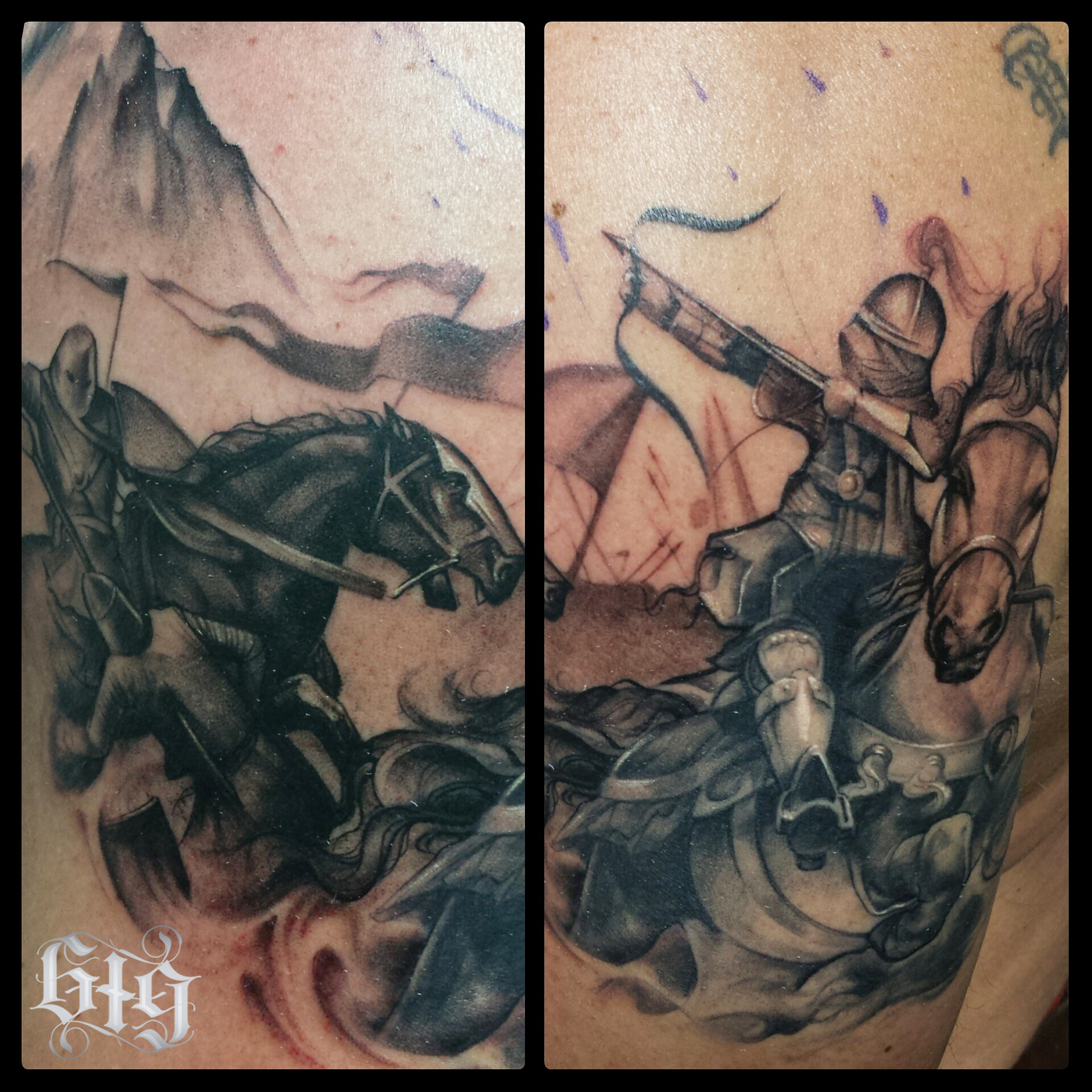 Black and Gray Medieval Knights in battle. Half sleeve upper arm tattoo.