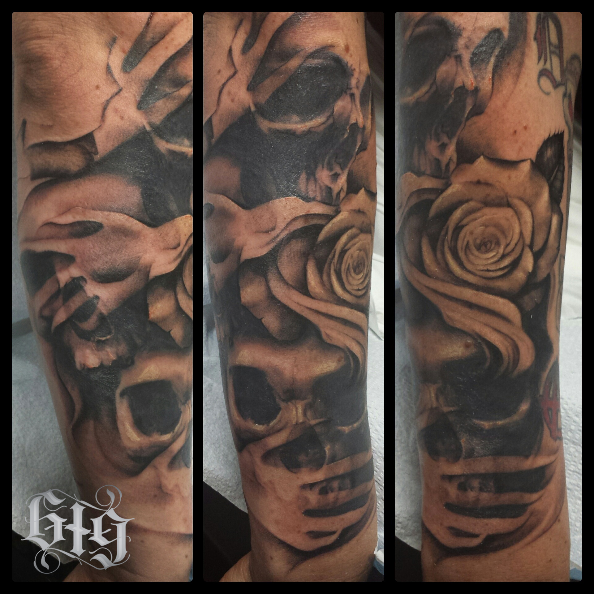 Realistic Skulls 'hear no evil, see no evil, speak no evil' with roses, black and gray fine details. Half arm sleeve tattoo