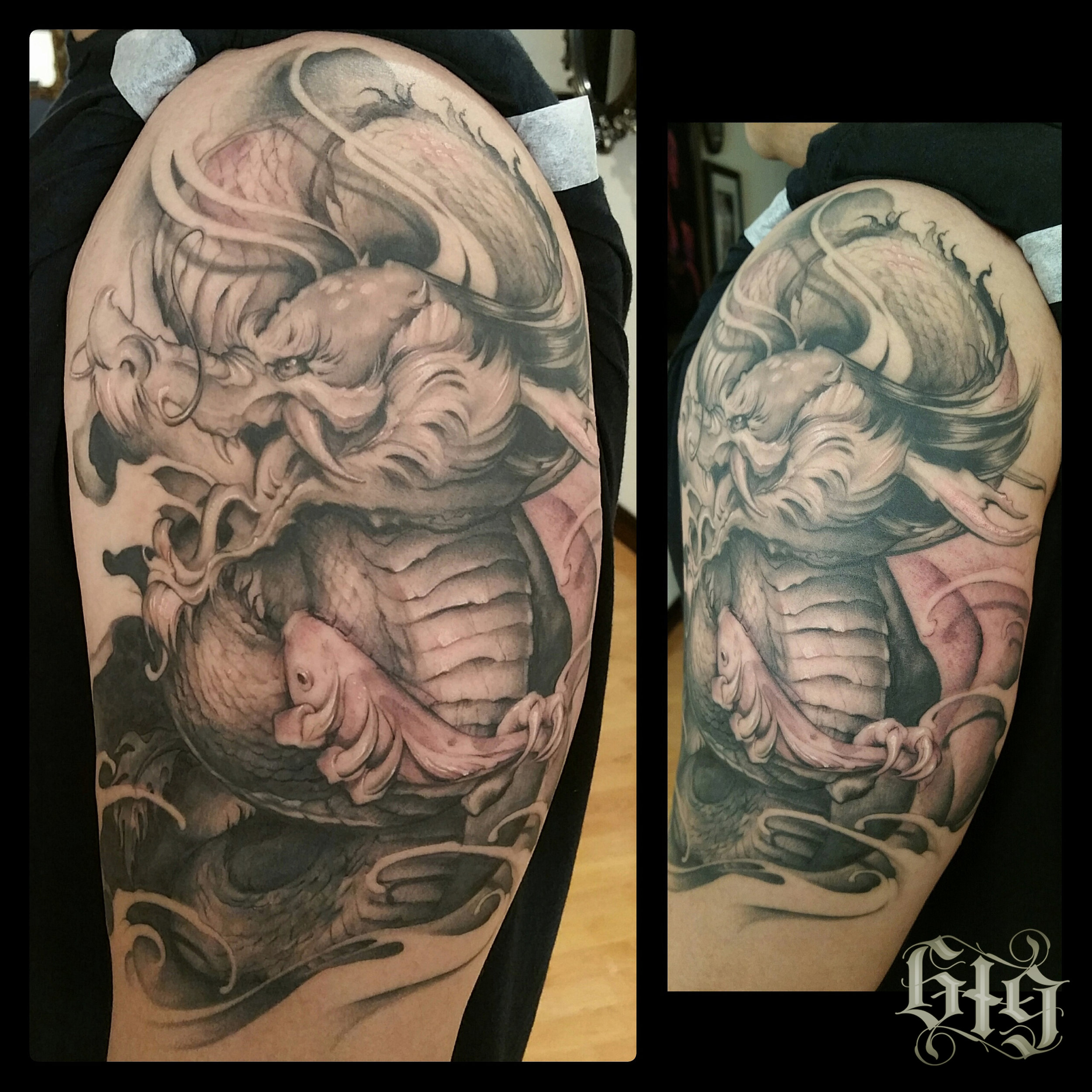 Realistic Japanese Dragon with Koi fish. Black and gray fine detail upper shoulder half sleeve tattoo.
