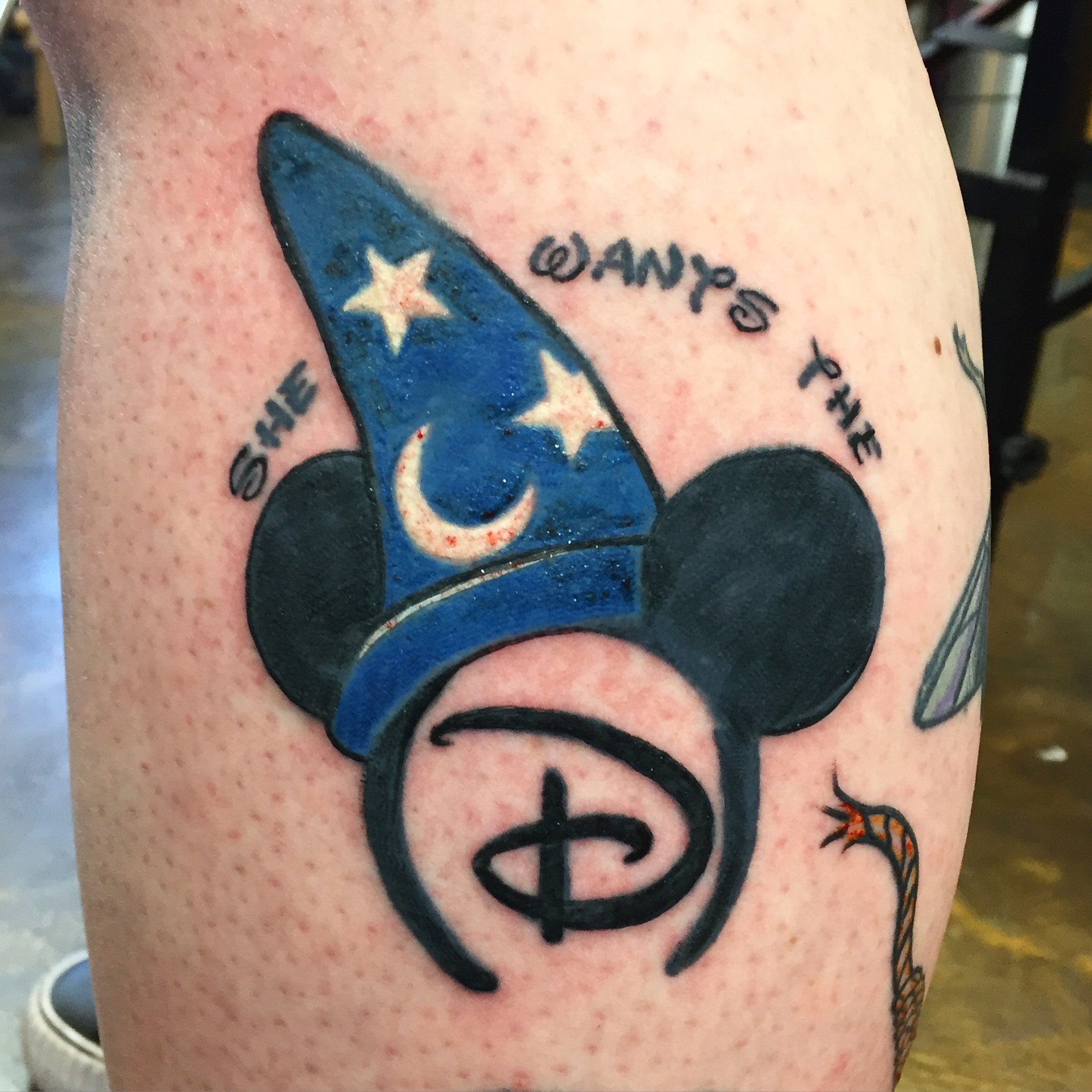 """She wants the D"", Dirty Disney Mickey Mouse ears and Fantasia hat. Side calf half leg sleeve tattoo."