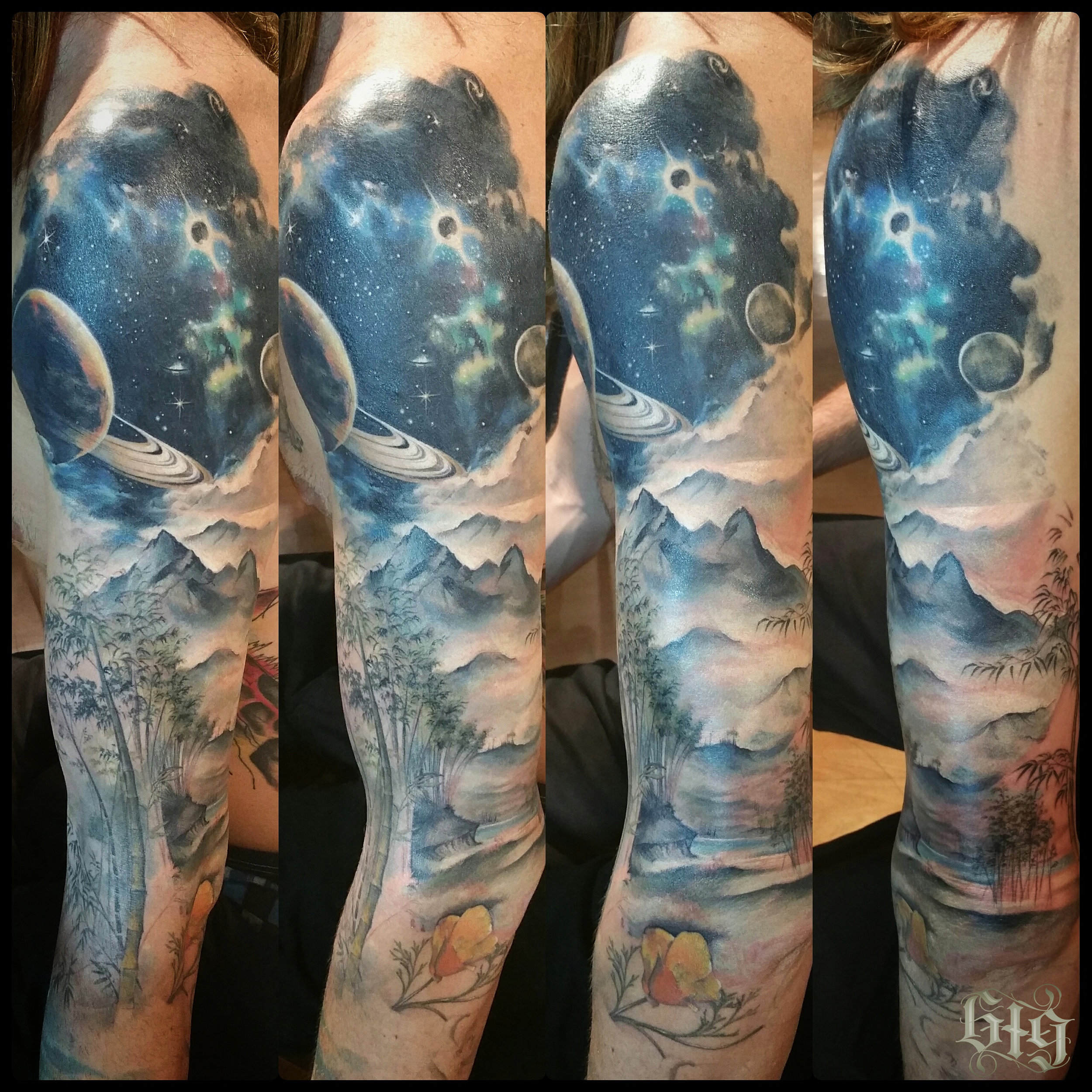 Nature scene with bamboo, poppy, river, mist, mountains, up to Saturn and its rings, an eclipsing sun and milky way stars. Color fine detail tattoo full sleeve.