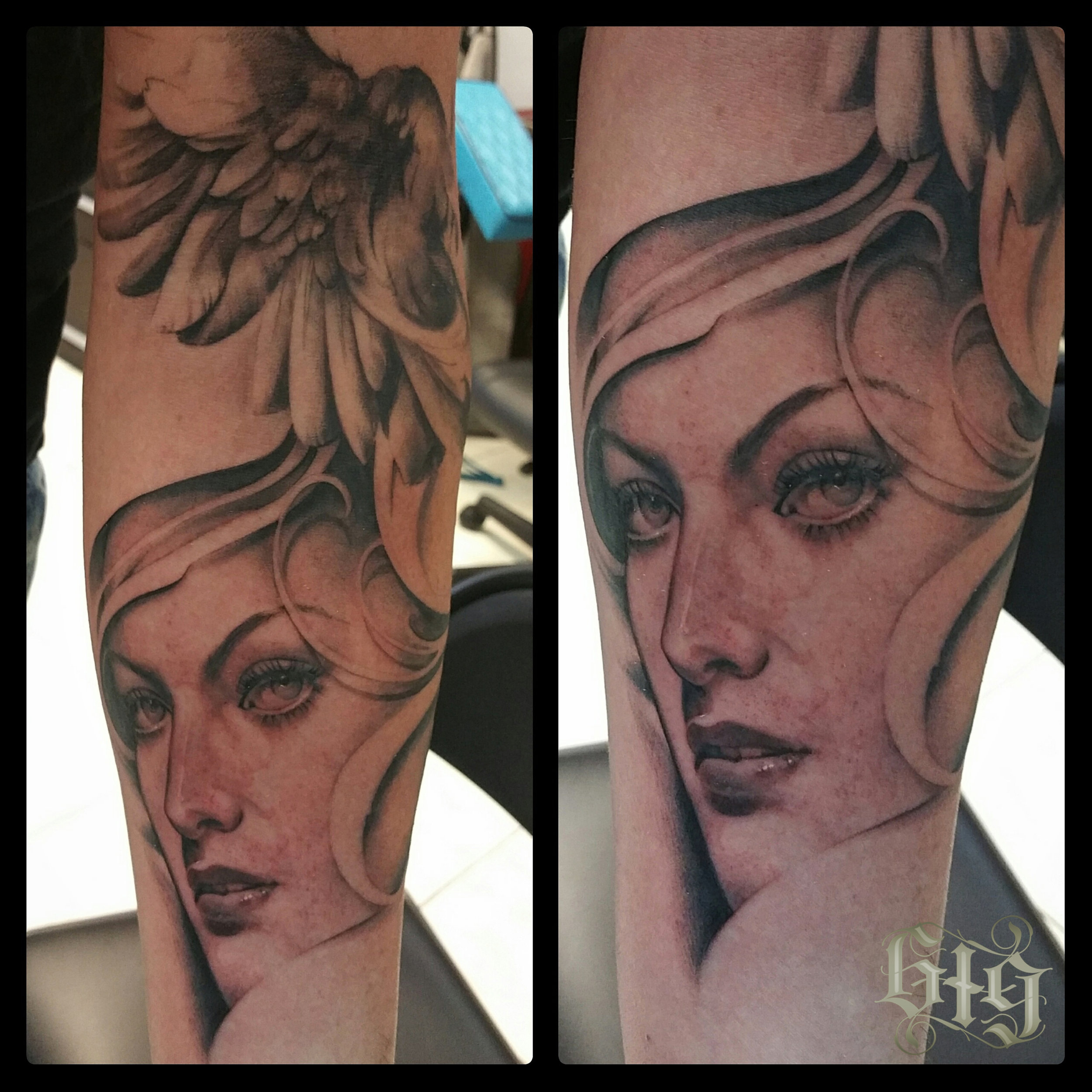 Female Portrait black and gray fine detail. Forearm half sleeve tattoo