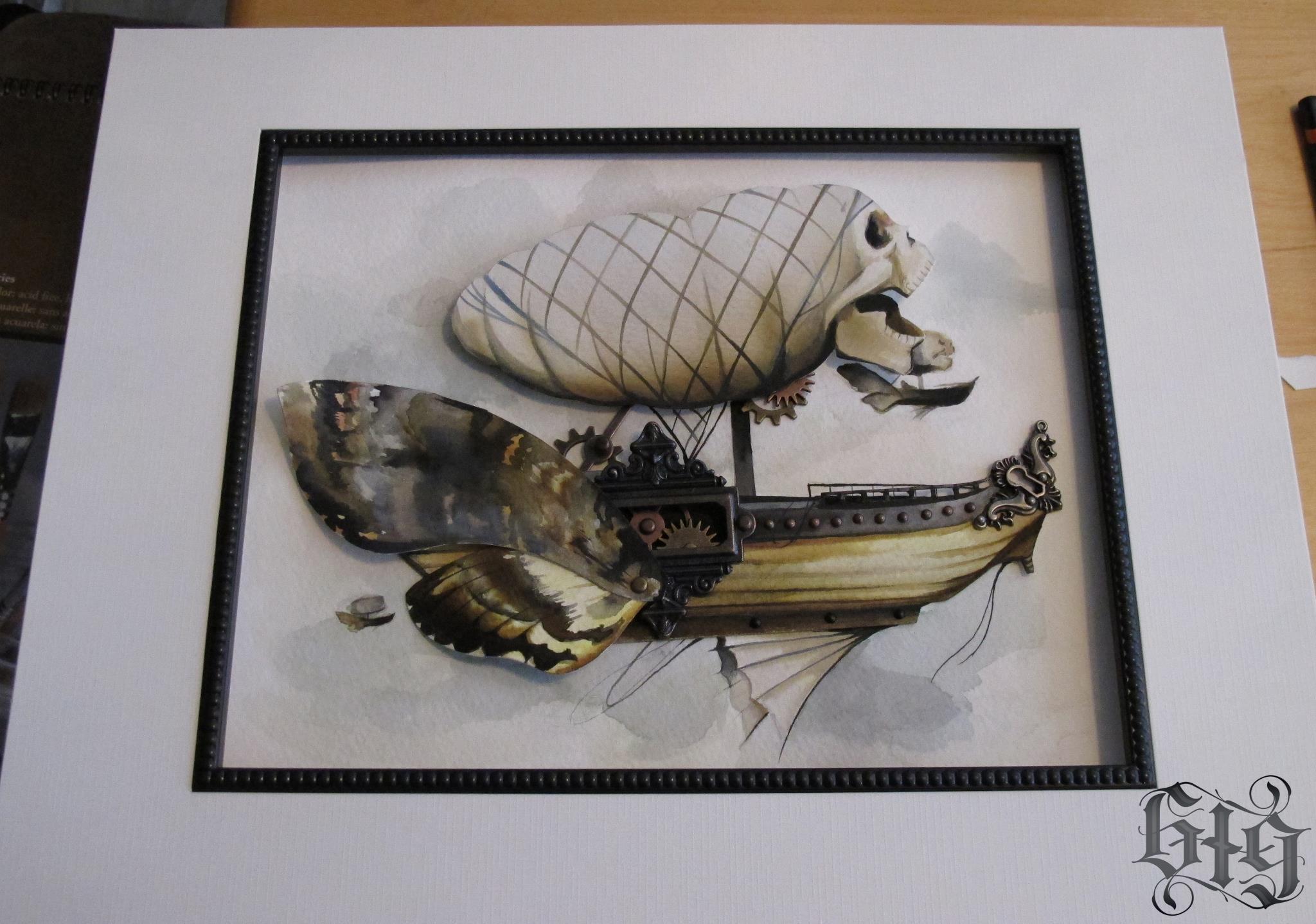 Steampunk Moth Armada in fine detail and watercolor.Original Artwork