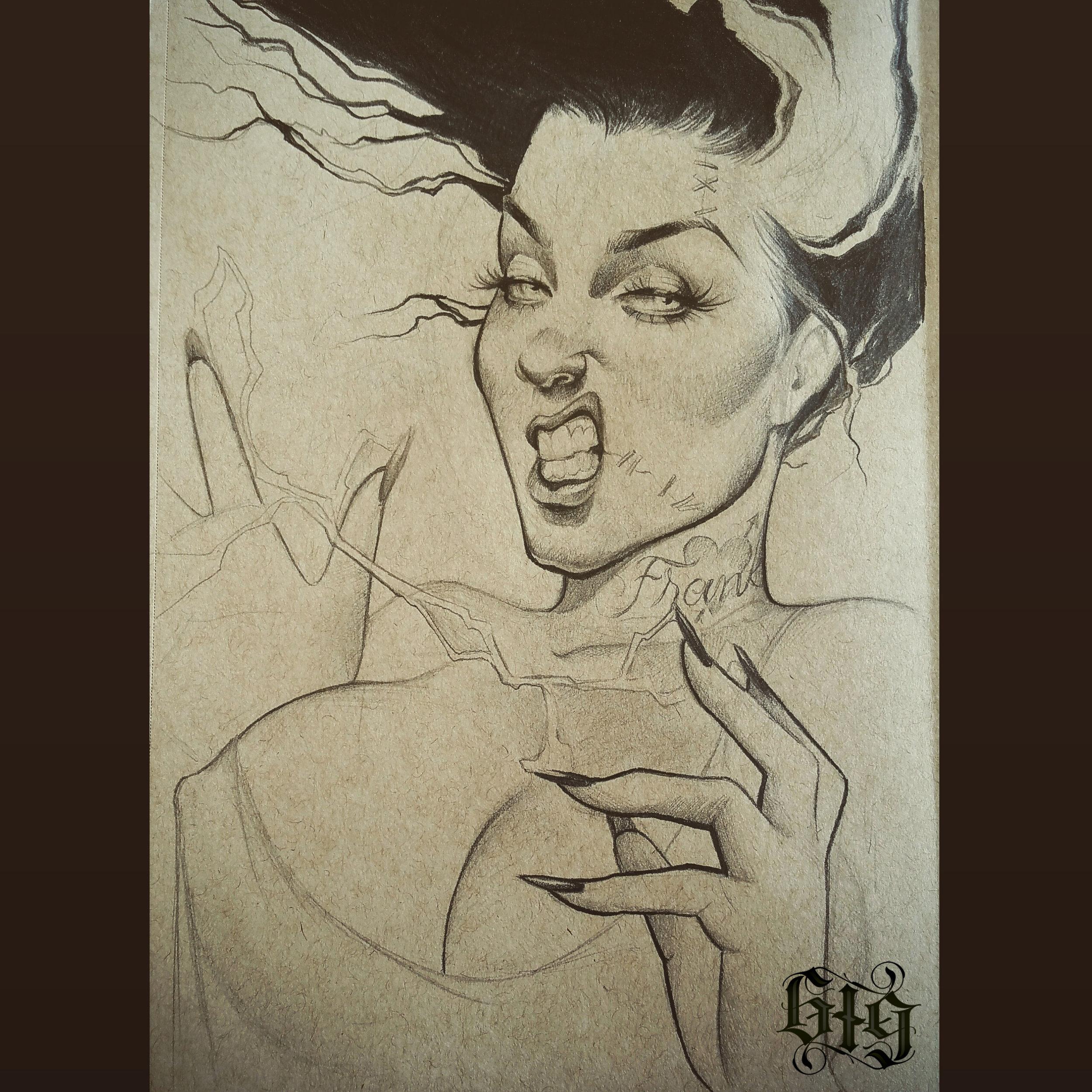 Bride of Frankenstein in fine detail pencil. Original Artwork