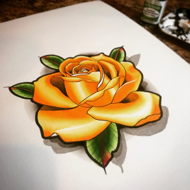 Yellow Rose original artwork on paper
