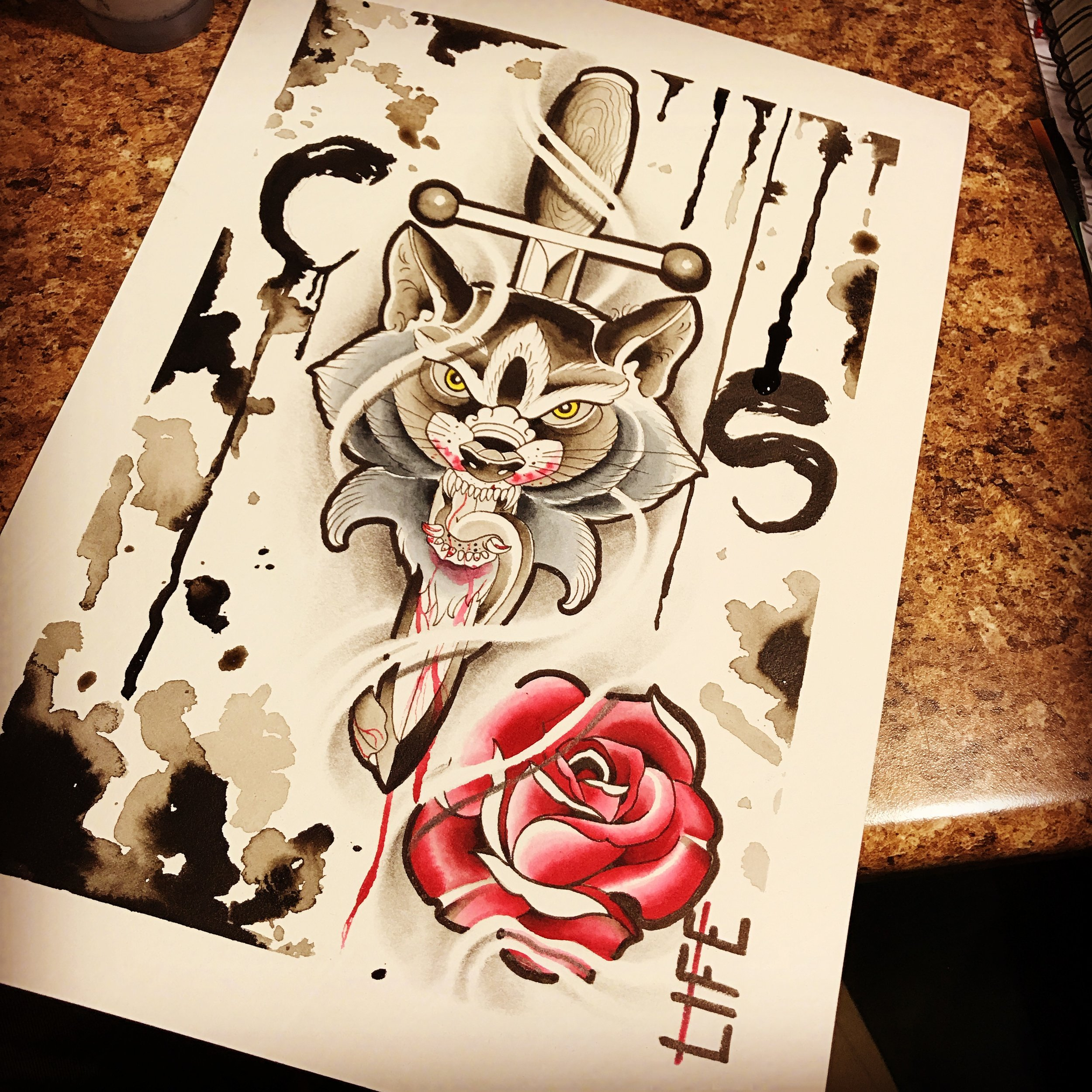 Original ink artwork. Wolf with a dagger and rose.