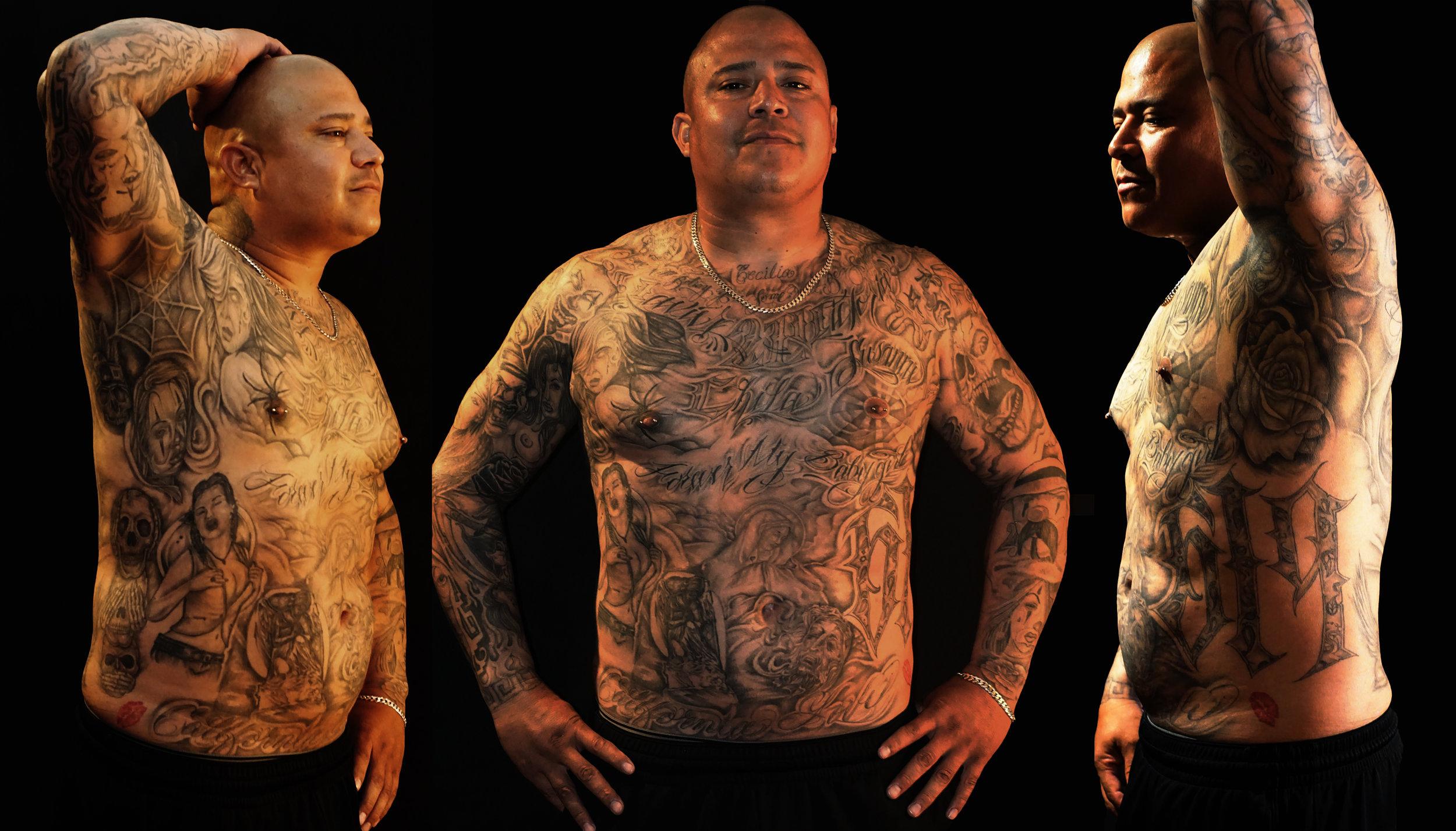 Full torso tattoo black and gray. Lettering, portrait, roses, skulls, spiderweb, spiders, 619.