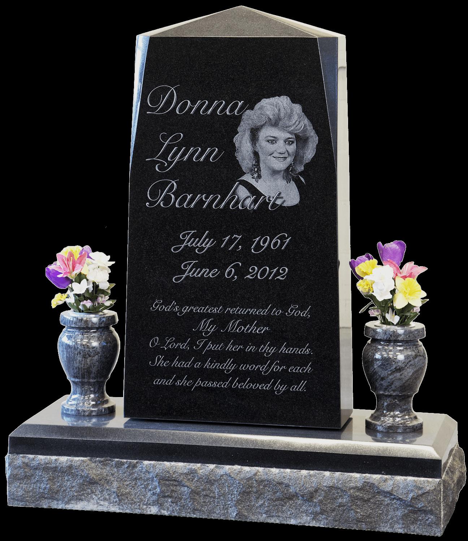 headstone - etched black granite