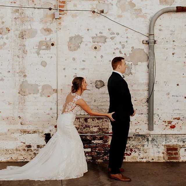 """Here's to all the """"first looks"""" of 2018...and to all the ones to come in the new year! If you're still on the fence about a venue for your 2019 wedding, you GOTTA schedule a visit with us to check out the space and meet our staff! We have 1 job...to make your day the BEST day!! . . . #weddingvenue #wedding #firstlook #theengineroomga #2019wedding #monroega #brideandgroom"""
