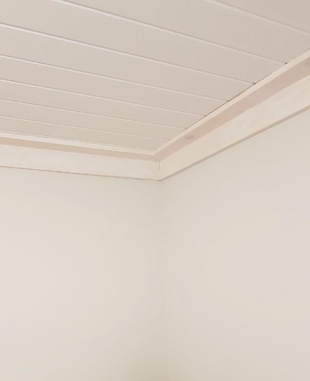 Wall colour: Garlic Bud by Beauti-Tone Paints, Home Hardware.  Link . Ceiling: White ceiling paint by Beauti-Tone Paints (primed with Beauti-Tone oil based primer to lock in the knots).