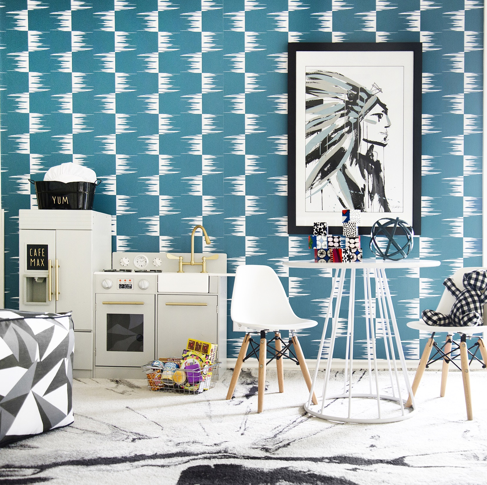 STONE TEXTILE FRINGE CHECK IN WHITE ON TEAL Designer: Stone Textile Studio