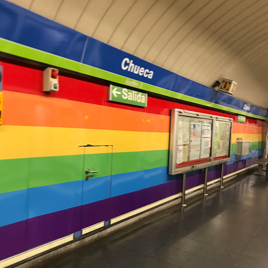 Chueca Metro Stop: popular neighborhood for Madrid's LGBT community. Here, Madrid will host the world's largest LGBT event 'World Pride Madrid 2017,' a 10 day festival in June. Millions of people will come to Madrid to celebrate and recognize diversity. So many inclusivity events being hosted in Madrid. GO MADRID!