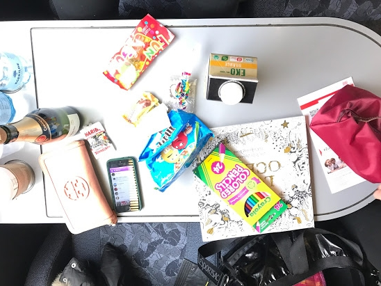 Train rides with coloring books, gummies, mimosas & friends <3