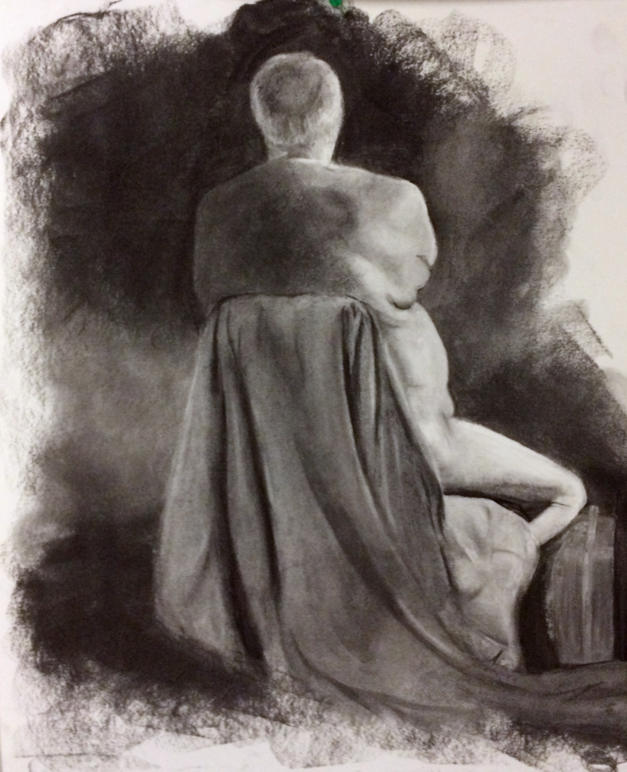 "Drawing I , Winter 2016, figure drawing, charcoal on paper, 24"" x 18"""