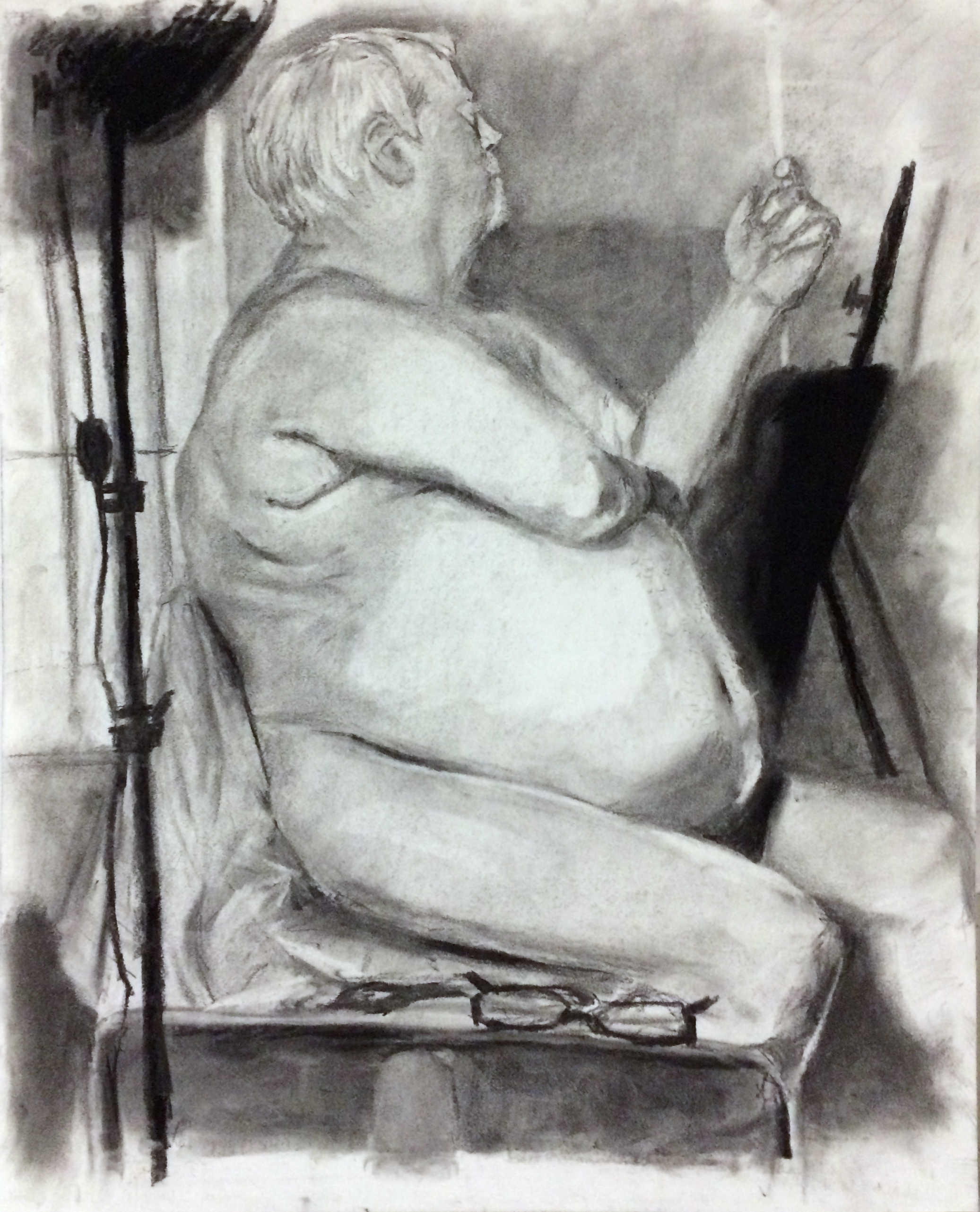 "Drawing I , Winter 2016 figure drawing, charcoal on paper, 24"" x 18"""