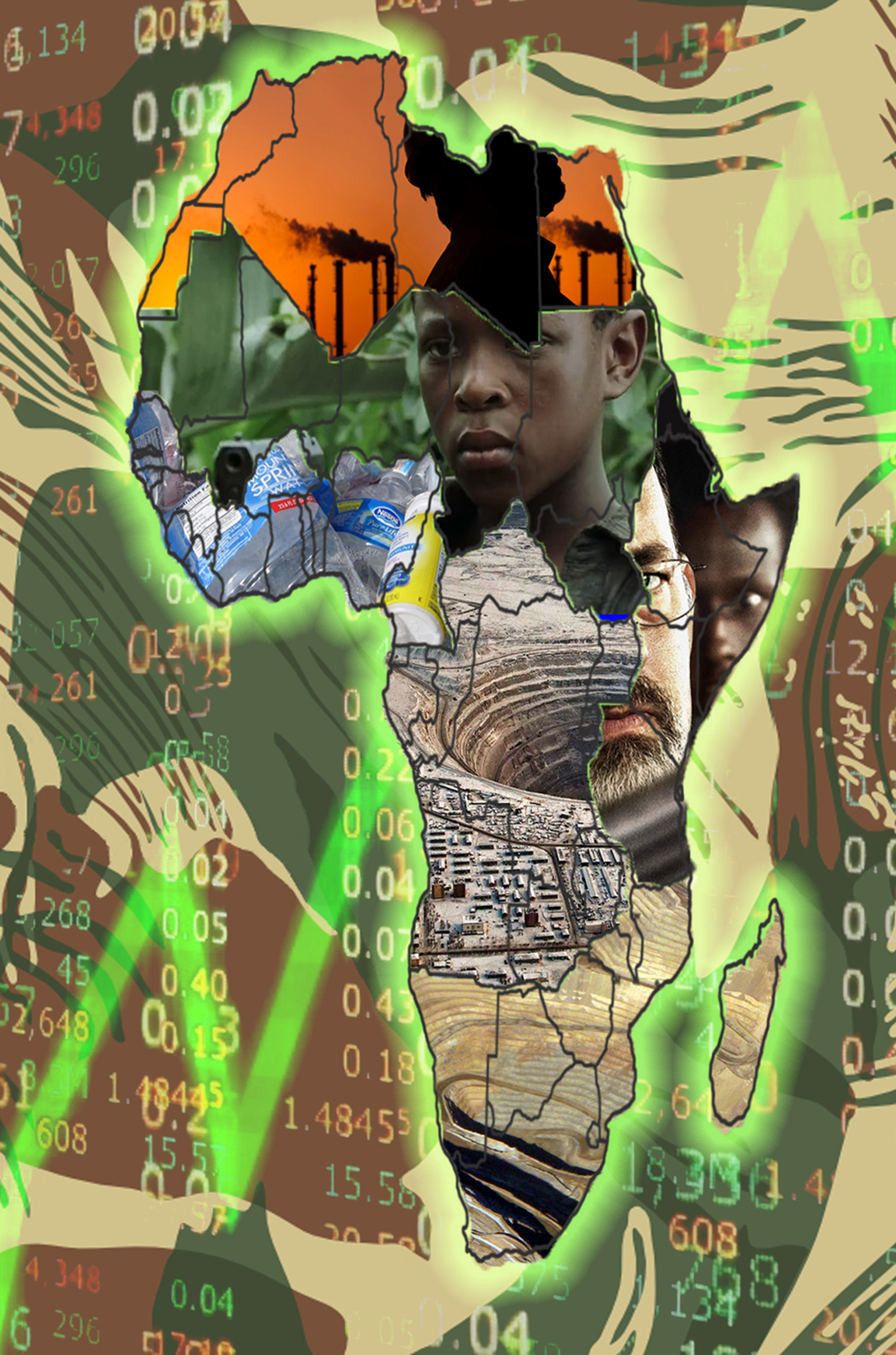 Africa (Gall-Peters Projection), 2017,   digital collage, size variable