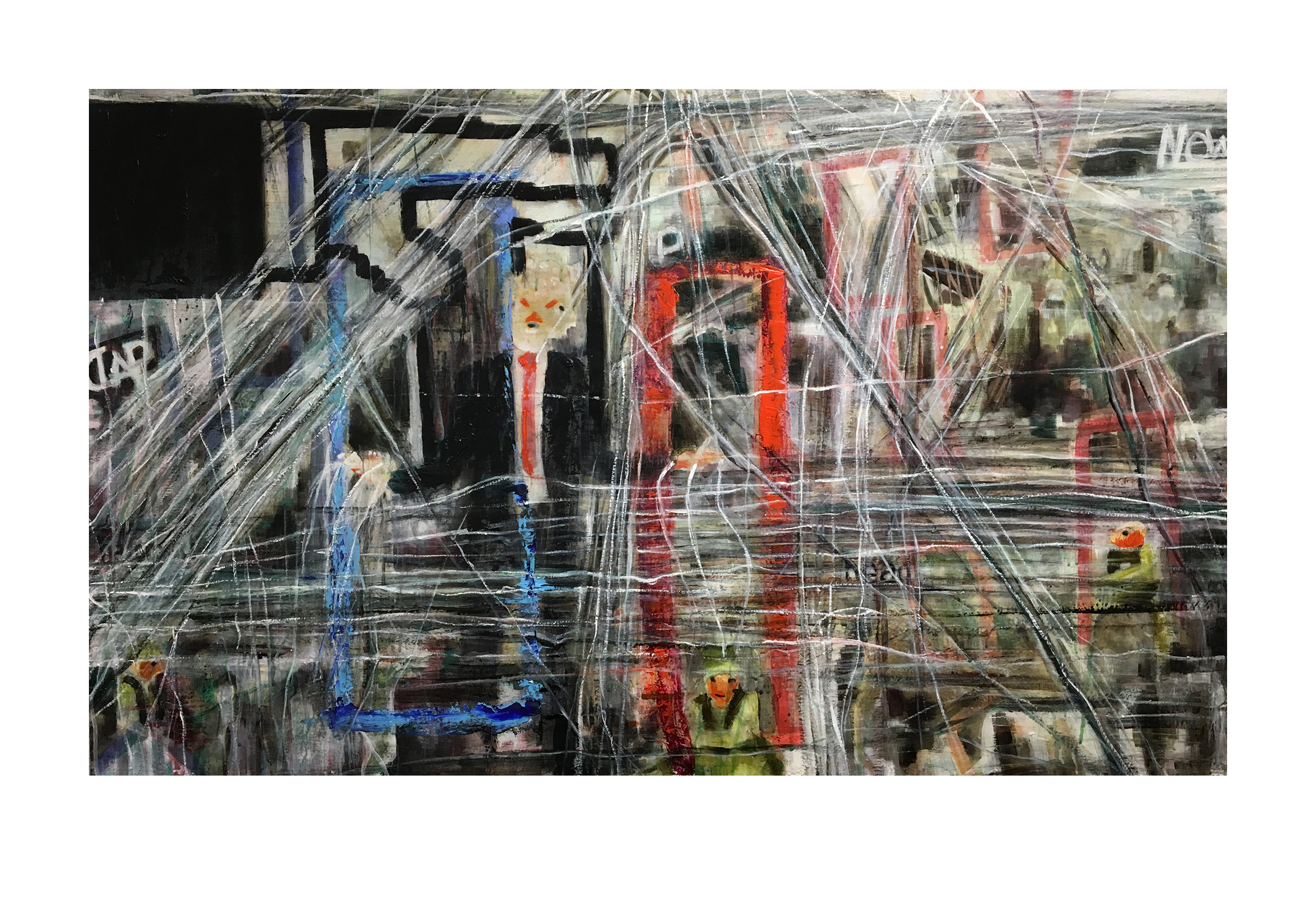 """web.  the puppet is the puppet of the puppet, and everything is interconnected. Memes of control dominate and narratives pixelate into the fray with chaotic strings connecting nothing and only restricting.   """"web,"""" 2018, oil emulsion and pigment on panel, 31"""" x 51"""""""