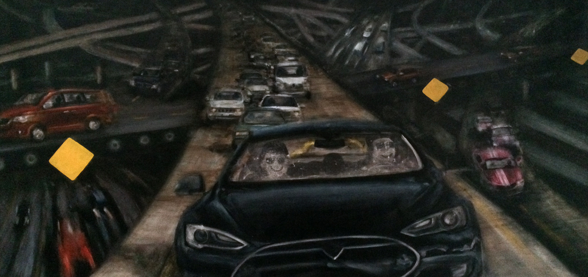 """The Industrial Complex (part 2)  , 2016, water mixable oil paint and gouache on canvas , 52"""" x 108"""""""