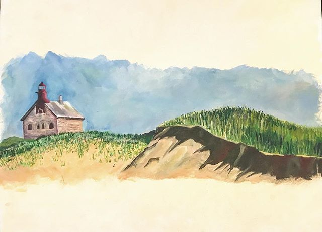 throwback to warmer days! ☀️ #tbt painting of Block Island from 10 (?) years ago
