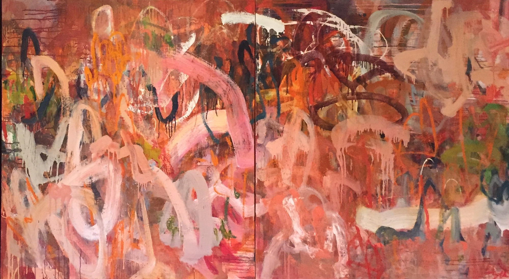PRETTY IN PINK 40 x 72 diptych oil on canvas SOLD