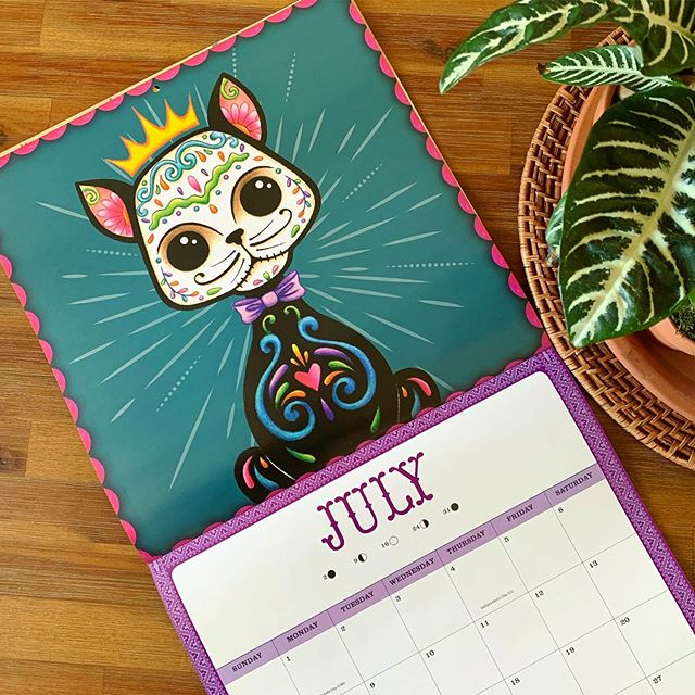 Happy July!  #thehappyskullstudio . . . . #happyart #meowingmuertos #calendar #kitty#catsofinstagram #cat #dayofthedead #diadelosmuertos #sugarskull #cats #julio #july #catcalendar #designer #latinaartist #happyjuly