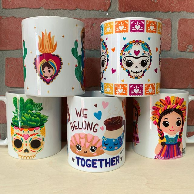 Have you checked out our very colorful mug collection?  You can find these and a few others via my Etsy shop. 🔸Link in Bio🔸 #thehappyskullstudio . . . . #happyart #coffee #coffeecup #mug #cafecito #concha#etsy#sugarskull #virgencita #dayofthedead #diadelosmuertos #lamuñeca #ragdoll#cafedeolla #butfirstcoffee #deathbeforedecaf #☕️