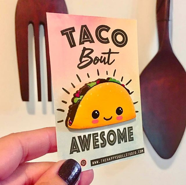 Flash Sale!!! All in stock wood brooches are on sale.  #thehappyskullstudio . .🌮Link in Bio🌮 . . #happyart #tacotuesday #taco #woodbrooch #nomnom #foodie #handmadeisbetter #handmade #lasercut #crafty #decoartprojects #tacoboutawesome #create #shopsmallbusiness #latina #cute