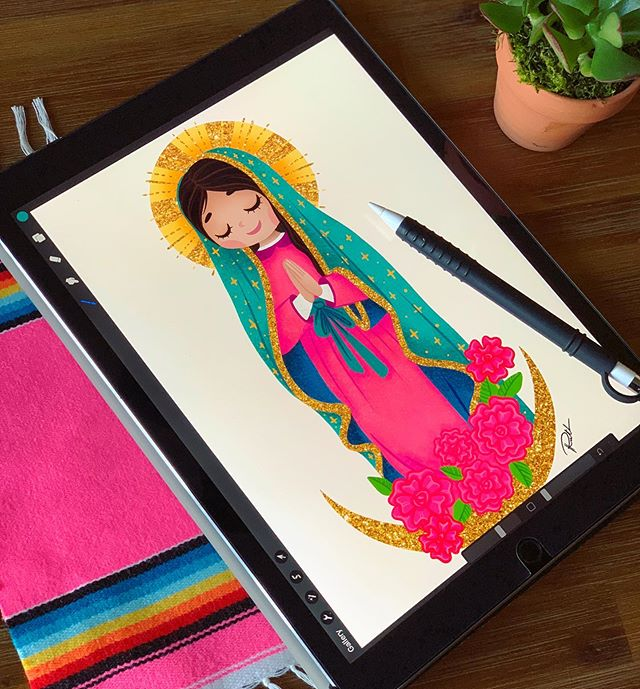 My Virgencita redesign is almost done and I'm already in love! ✨🌹✨ #thehappyskullstudio . . . . #happyart #bardotbrush #virgencita #virgendeguadalupe #ipadpro #procreate #designer #latina #latinaartist #wip #art #artist #pink #colorenthusiast #colorful #colormakesmehappy