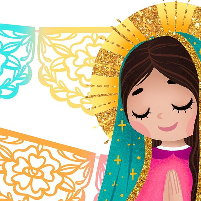 Happy Saturday everyone!  My redesigned Virgencita will be available this coming week as a print.  Any other merch you would like to see? ✨🌹✨#thehappyskullstudio . . . . #happyart #virgendeguadalupe #virgencita #papelpicado #digitalart #ipadpro #procreate #bardotbrush #glitter #gold #latina #latinaartist #designer #print #artprints #love