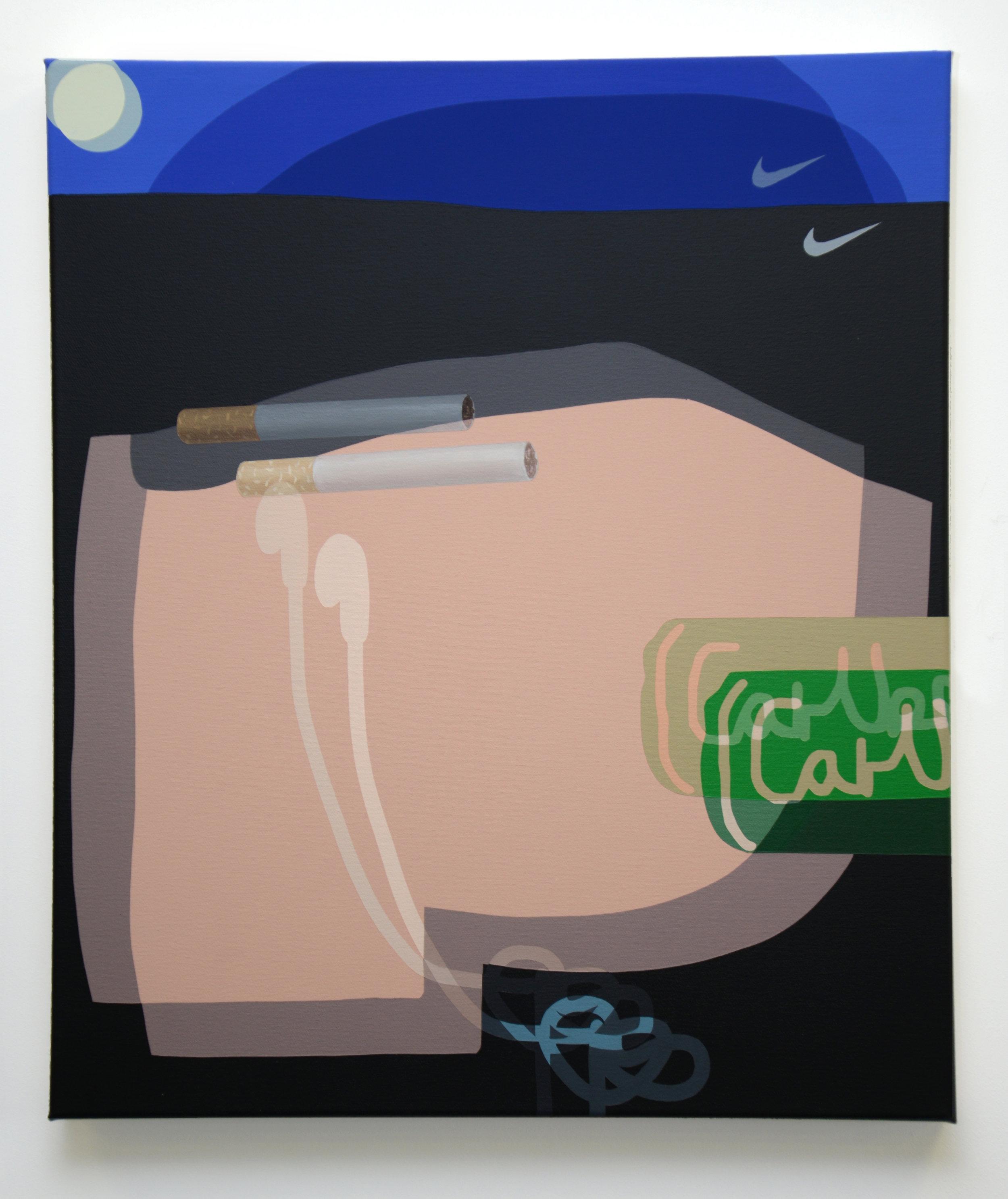 Social Drinker, 2017, oil, acrylic and spray paint on canvas, 60cm x 80cm