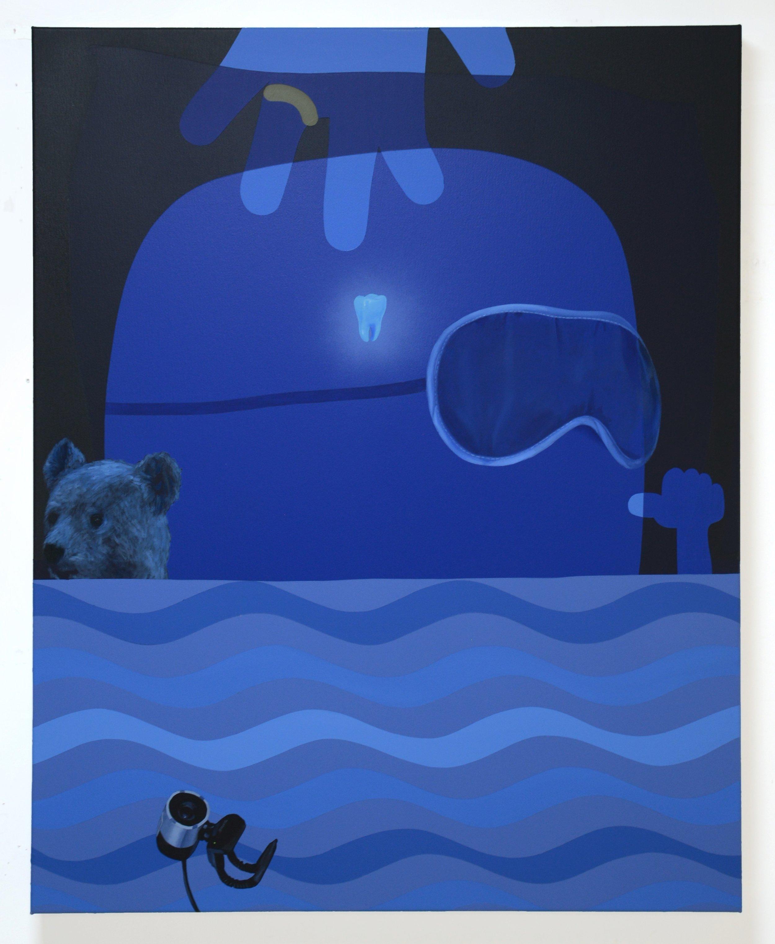 Toothfairy, 2017, oil acrylic and spray paint on canvas, 80cm x 100cm