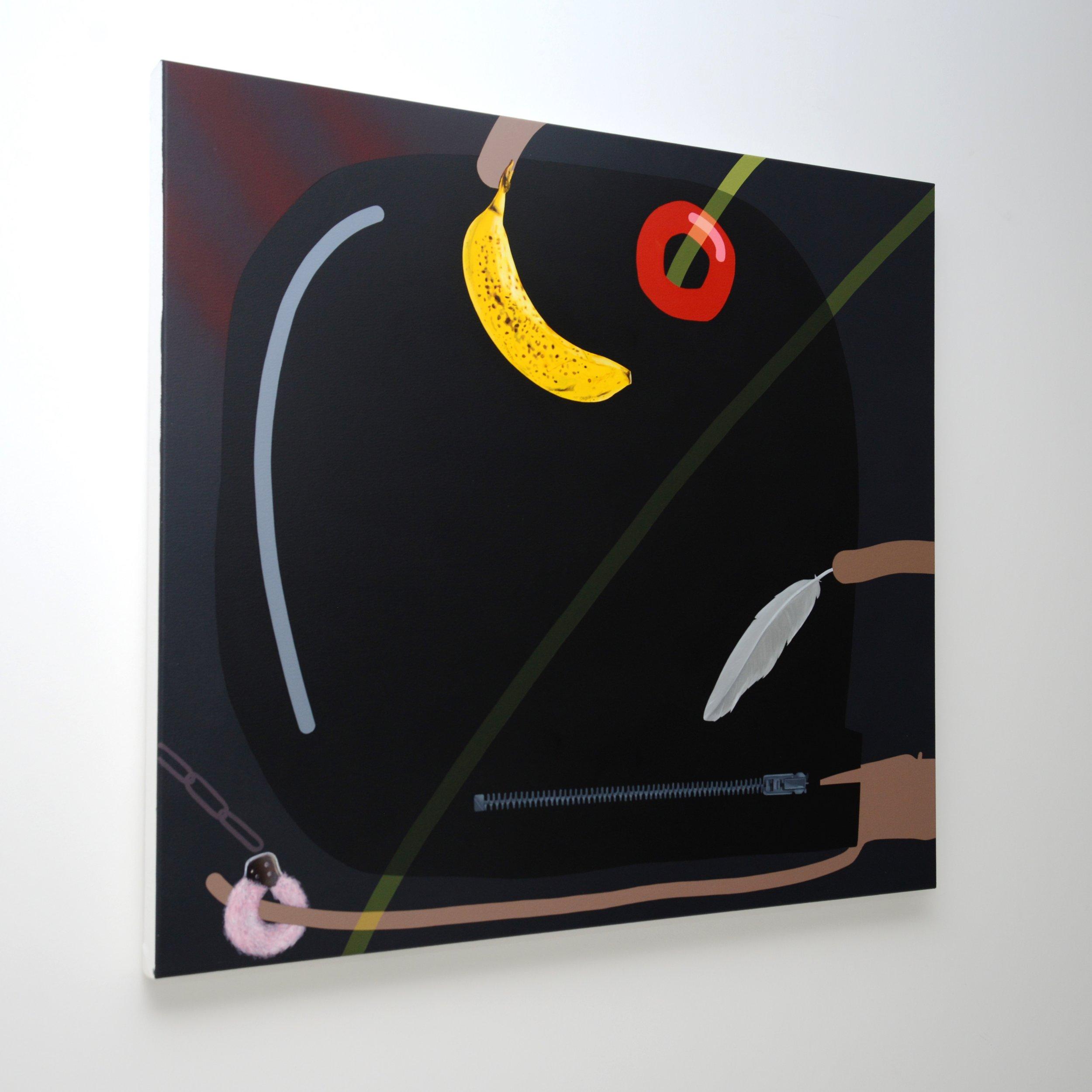 Pawn, 2017, Oli Epp, oil, acrylic and spray paint on canvas, 100cm x 90cm