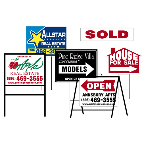 Yard Signs    - Perhaps one of the most widely used, visible, and effective promotional type of signs around, these types of signs can advertise your business, sell your home, or advertise your property.