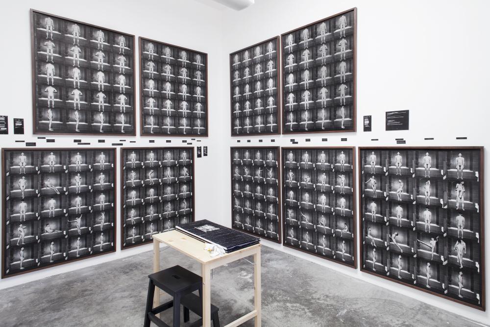 Installation view:Bethesda: Sam (2014-2016), thirteen framed photographs on a wall with 1/1 artist book