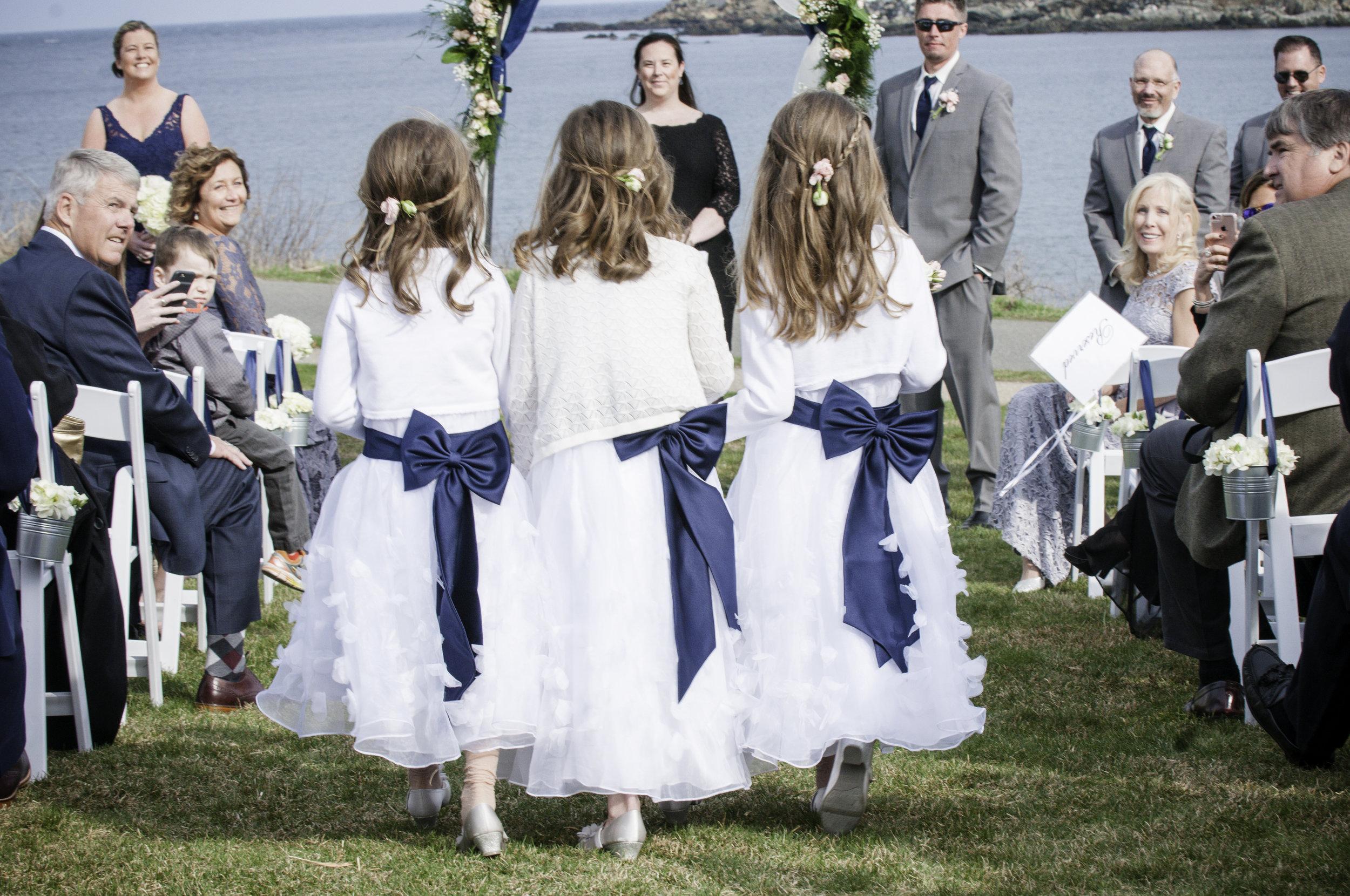 YORK MAINE WEDDING NAUTICAL FLOWER GIRLS
