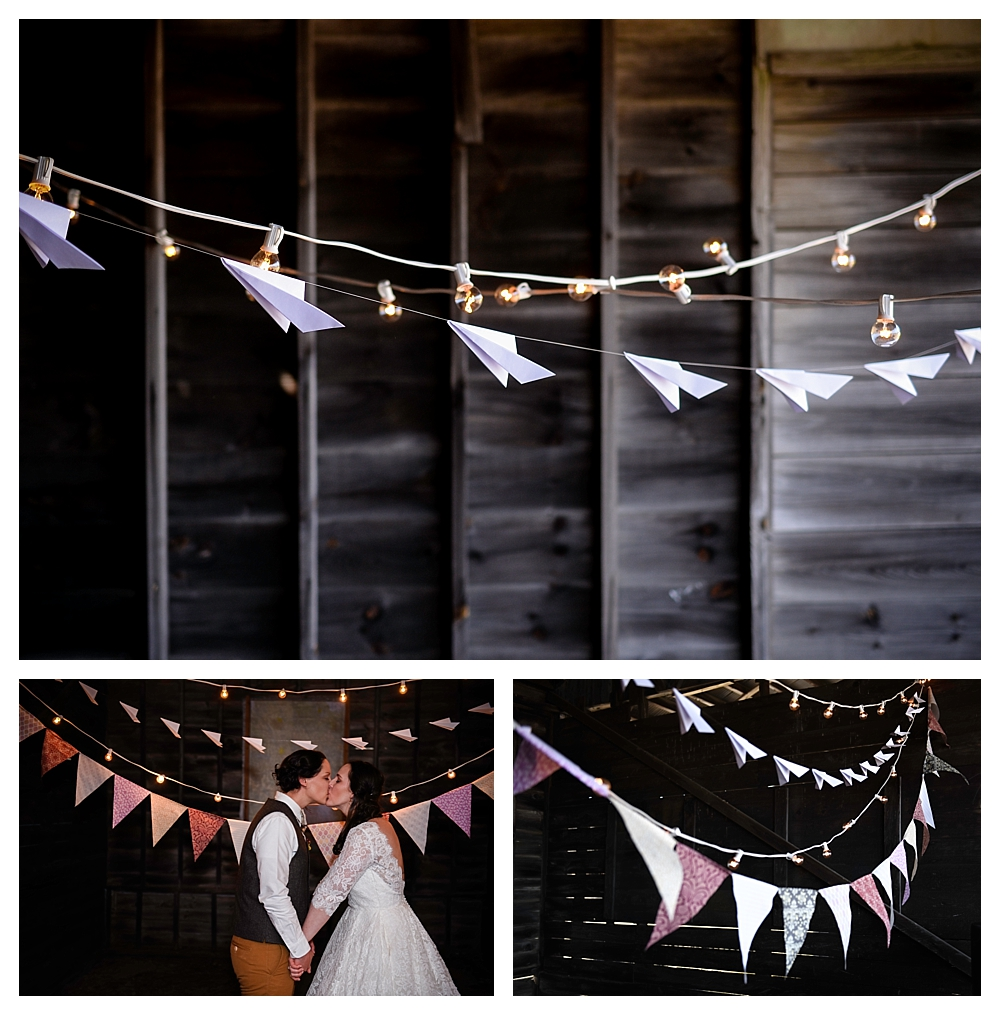 Amelia Earhart Vintage Hangar Wedding Two Brides Paper Airplane Garland Lighting .jpg
