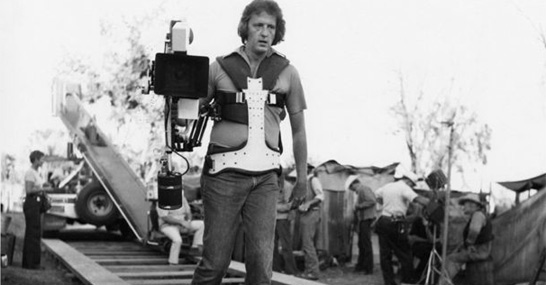 Old-style moving camera hardware meets Steadicam prototype on Bound for Glory in 1975.