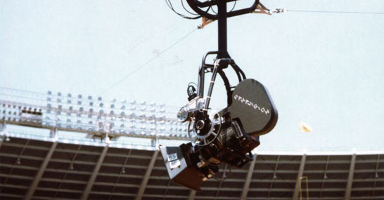 The first motion picture Skycam included a Panavision camera and worked on four movies in 1984. It won a technical Oscar in 2005.