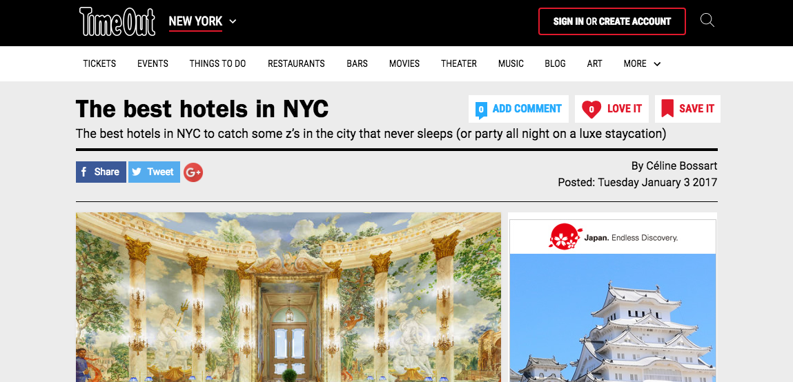 """The Best Hotels in NYC"" - Time Out New York"