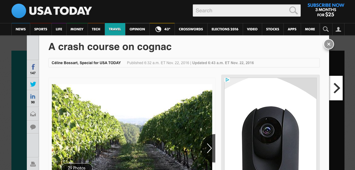 """A Crash Course on Cognac"" - USA Today"