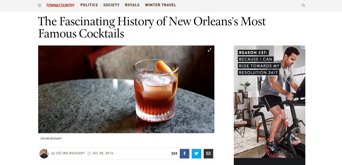 """The Fascinating History of New Orleans's Most Famous Cocktails"" - Town & Country"