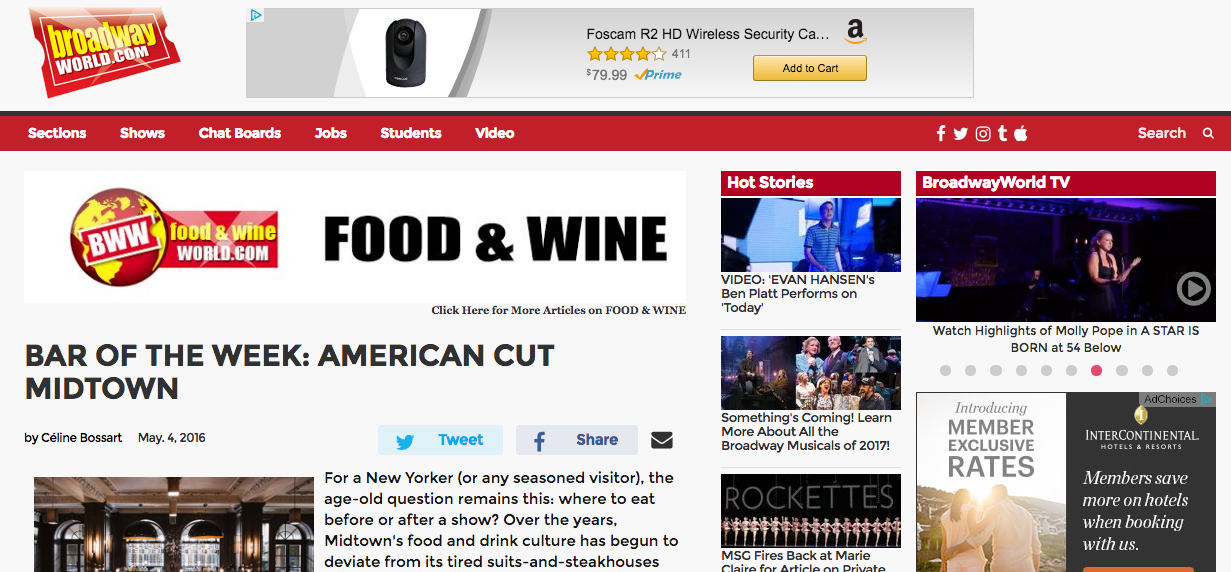 """Bar of the Week: American Cut Midtown"" - Broadway World"