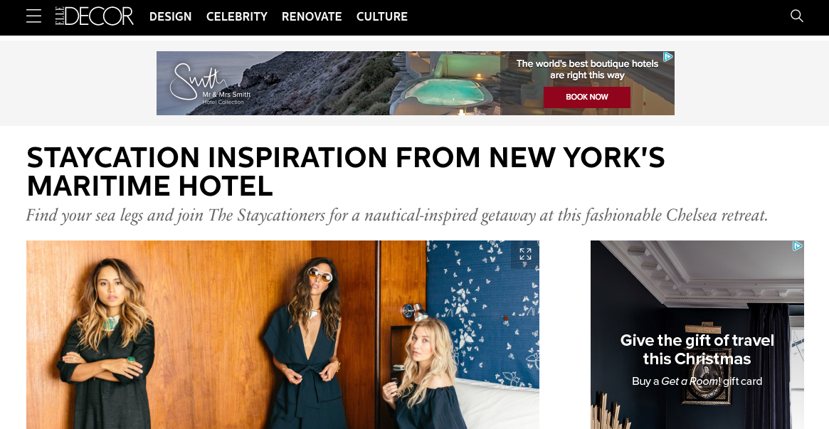 """""""Staycation Inspiration from New York's Maritime Hotel"""" - ELLE Décor"""