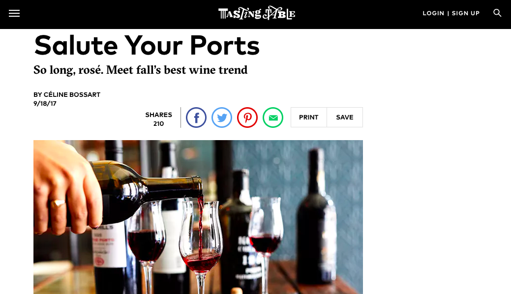 """Salute Your Ports"" - Feature, Tasting Table"