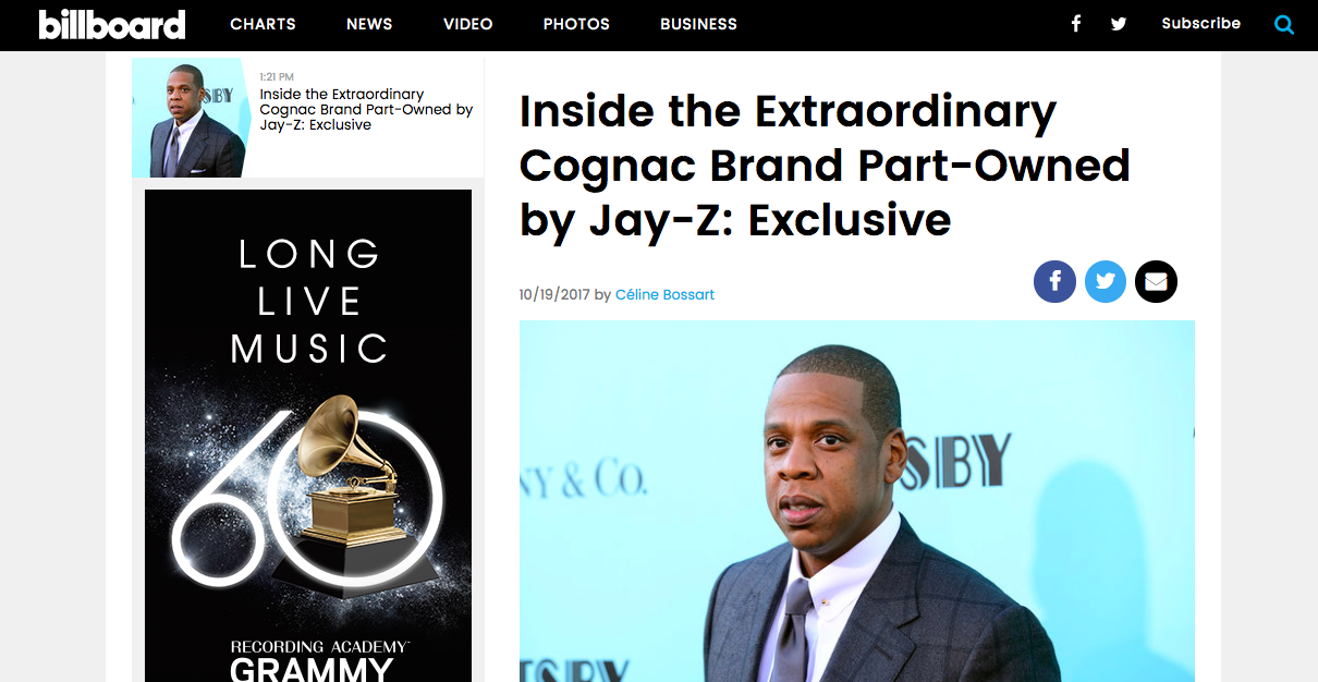 """Inside the Extraordinary Cognac Brand Part-Owned by Jay-Z"" - Exclusive, Billboard"