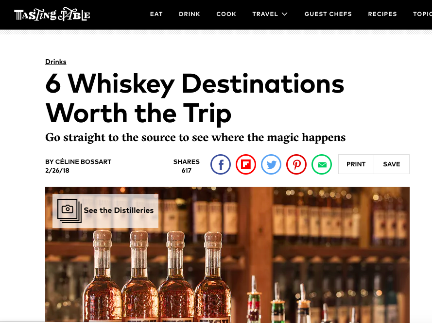 """6 Whiskey Destinations Worth the Trip"" - Tasting Table"