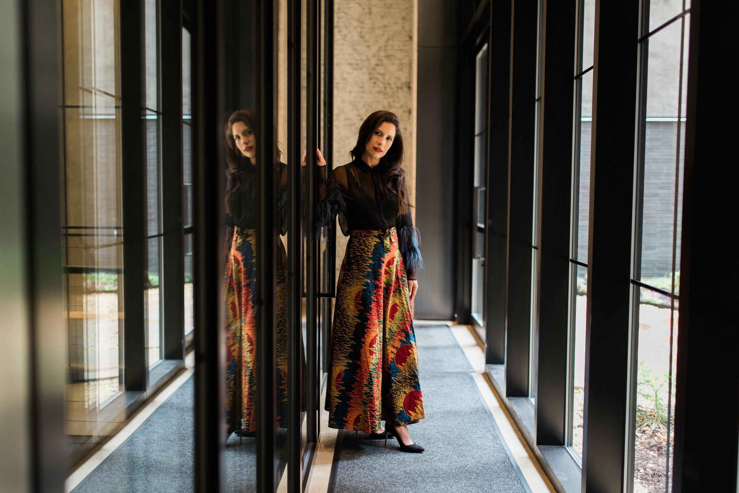 Love+Kind Founder Danielle Camastra, in our Sunset on the Savanna Wrap Skirt