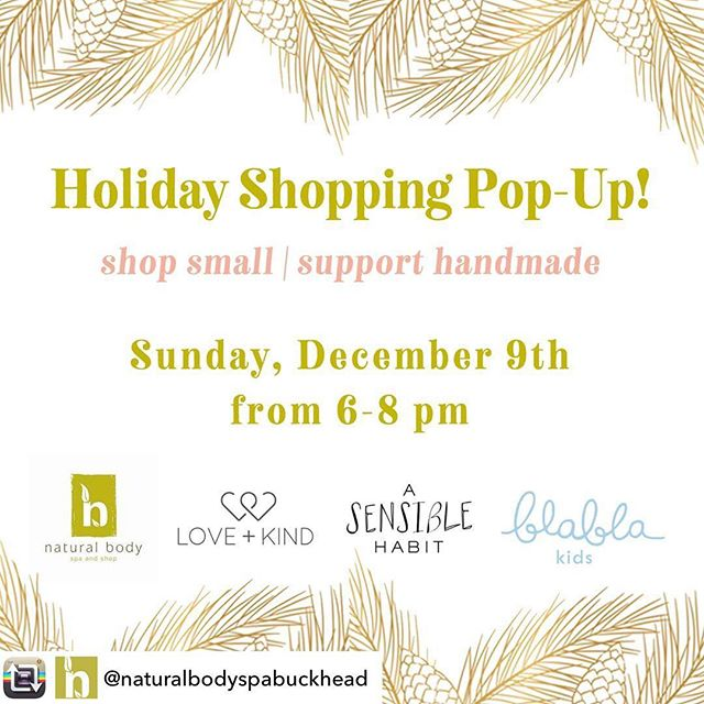 SAVE THE DATE ATL friends! We're so excited to visit you.  Join us for some bubbles and holiday shopping at @naturalbodyspabuckhead along with @asensiblehabit and @blablakidsshop and wrap yourself in love from Tanzania.